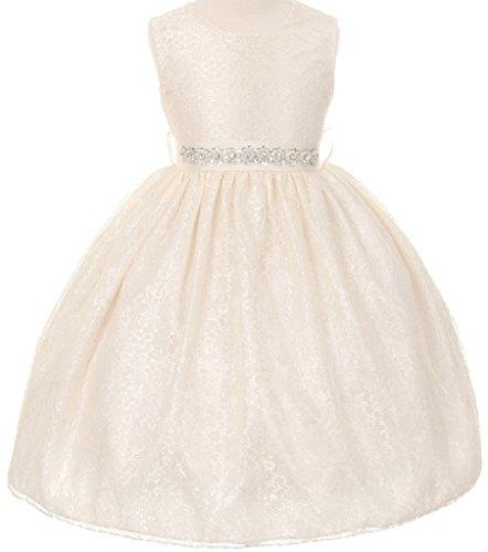 Fully Lined Taffeta Skirt (Little Girls Lace Taffeta Jeweled Belt Sash Flowers Girls Dresses Ivory Size 6)