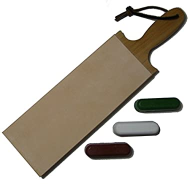 Leather Paddle Strop Double Sided 3 Inch Wide and 3 Compounds
