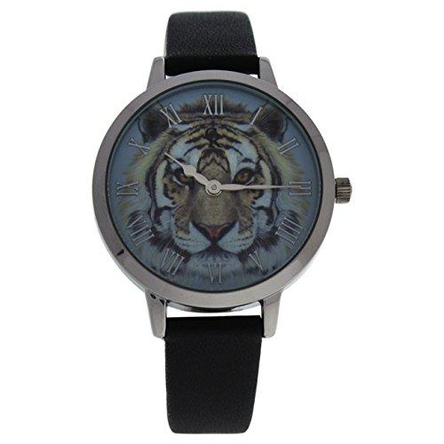 CRA016 La Animale - Silver/Black Leather Strap - Silver Black Watch Leather Animal