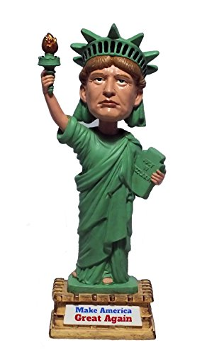 "Donald Trump Statue Of Liberty Bobblehead – Premium Novelty Gift Handpainted Innovative Present 7"" Tall Figure With Sign ""Make America Great Again"""