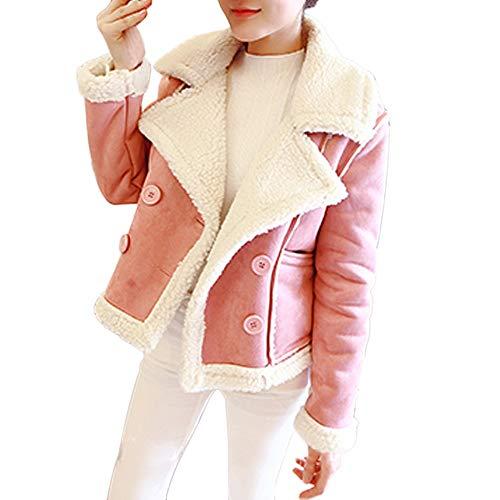 Fur Short Jacket Women Fleece Velvet Double Breasted Coat ()