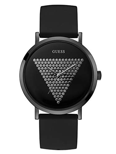 GUESS  Iconic Studded Black Logo Silicone Watch. Color: Black (Model: U1161G2)