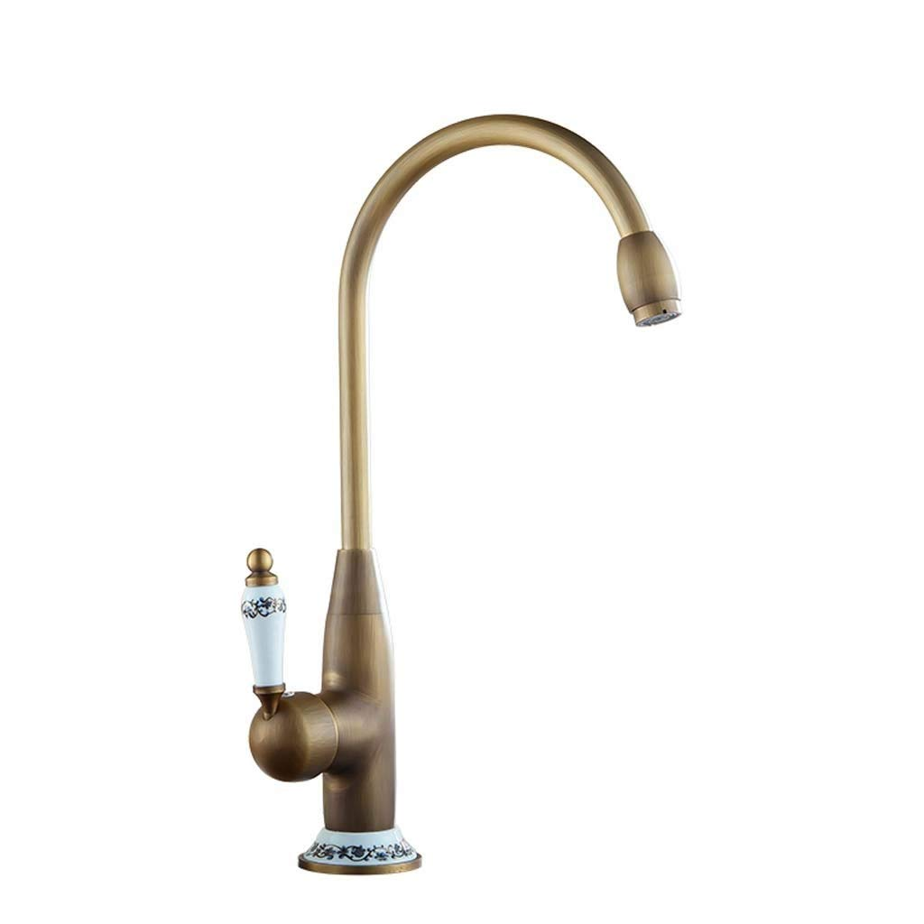 Kitchen bluee And White Porcelain Faucet Retro Bath Faucet Hot And ColdAntique redary Faucet