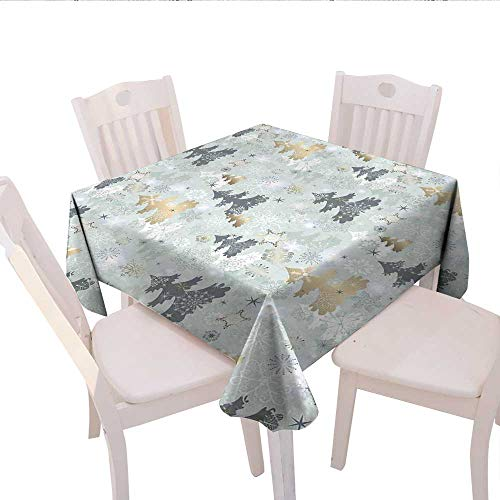 - Christmas Dinner Picnic Table Cloth Retro Pine Tree Figures Over Snowflake Background in Pastel Tones Print Waterproof Table Cover for Kitchen 70x70 (inch) Pale Sage Green Gold