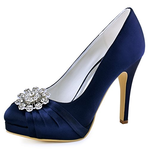 ElegantPark EP2015-NW Women High Heel Platform Pumps Closed Toe Buckle Satin Dress Wedding Shoes Navy Blue US 9