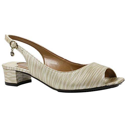 J.Renee Women's KARWIN Pump, Beige/Metallic, 8.5 Medium US