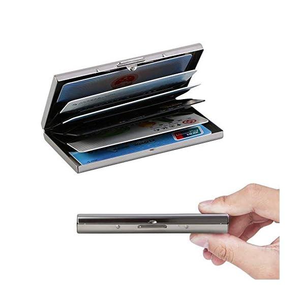 Vicloon Tarjetero para Tarjetas de Crédita/Visita/Monedero, Delgado Portatarjetas Metálico con RFID Bloqueo y 6 Ranuras… 4