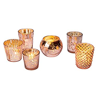 Luna Bazaar Best of Vintage Mercury Glass Candle Holders (Rose Gold, Set of 6) - For Use with Tea Lights - For Home Decor, Parties, and Wedding Decorations - Mercury Glass Votive Holders