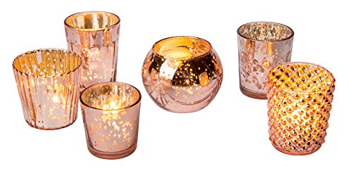 (Luna Bazaar Best of Show Vintage Mercury Glass Candle Holders (Rose Gold, Set of 6) - for Use with Tea Lights - for Home Decor, Parties, and Wedding Decorations - Mercury Glass Votive Holders)