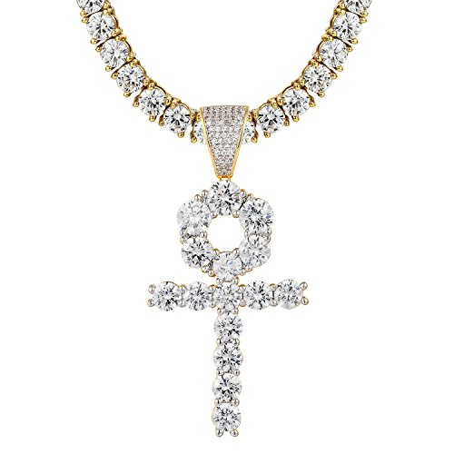 Master Of Bling Solitaire Ankh Cross Pendant 925 Silver Simulated Diamond 14k Gold Finish Tennis Chain (Diamond Simulated Tennis Necklace)