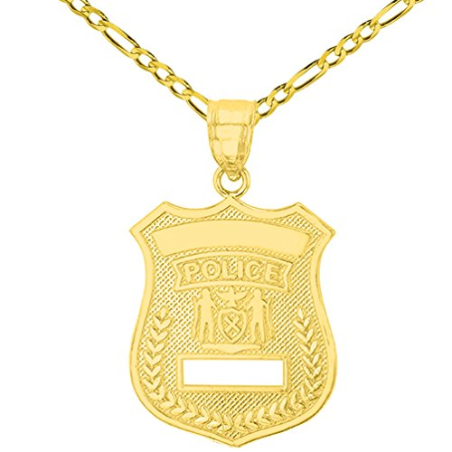 - Solid 14K Yellow Gold Police Officer Badge Charm Pendant with Figaro Chain Necklace, 20