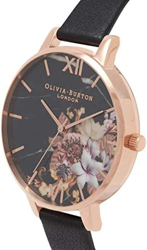 Olivia Burton Marble Florals Watch in Black and Rose Gold