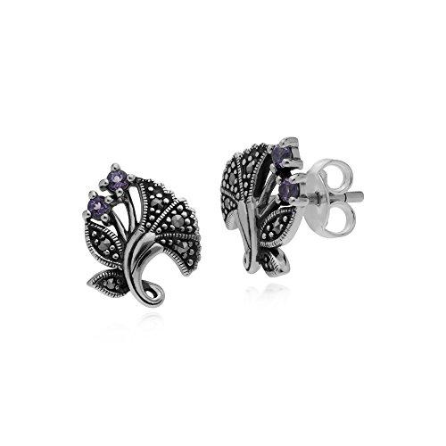 Gemondo Amethyst Earring, Sterling Silver Amethyst & Marcasite February Art Nouveau Stud Earrings