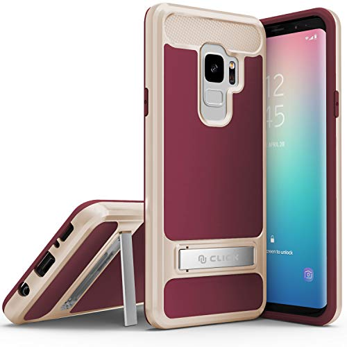 ZV Hybrid Cover Samsung Galaxy S9 - Dual Layered Case with Built in Kickstand (Burgundy & Gold)