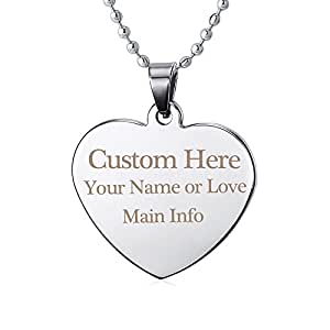 Ranipobo Personal Tailor Custom Message Text Engraving Necklace Dog Tag Pendant with Chain 13 Font Style (Heart Tag )