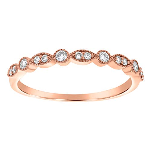 14K Gold Vintage Bezel and Bead Set Round Diamond Wedding Band Ring (1/6 cttw, H-I, I1) (rose-gold, ()