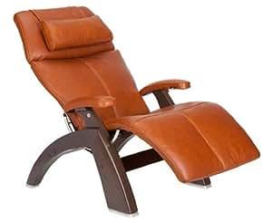"Perfect Chair ""PC-500 Silhouette"" Premium Full Grain Leather Zero Gravity Hand-Crafted Dark Walnut Recliner, Cognac"