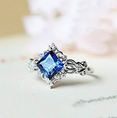 (Crookston Women Men 925 Silver White Topaz Sapphire Fashion Wedding Party Ring Size 6-10 | Model RNG - 16405 | 10)