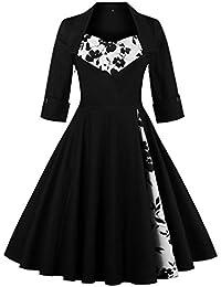 Women's Retro Vintage Cocktail Dress - Plus Size 50's Style Rockabilly Swing Party Dresses for Women