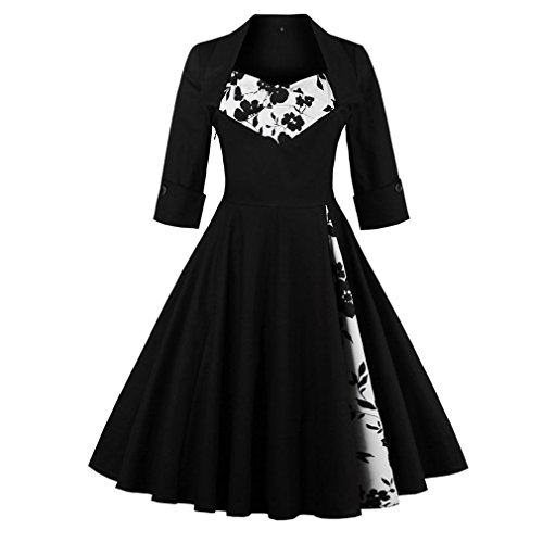 Classic Plus Size Dresses (Women's Vintage Cocktail Dress - Olddnew Plus Size Long Sleeves, 50's style Rockabilly Swing Party Dresses for Women (5XL, Black Floral))
