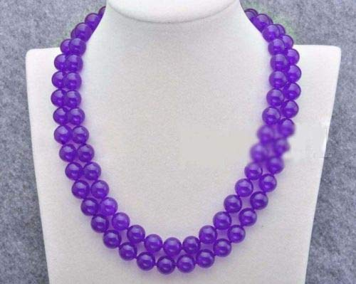 FidgetFidget Women's 8/10/12mm Natural Jade Gemstone Round Beads Long Necklace 36-50'' 12mm 36'' Purple Jade
