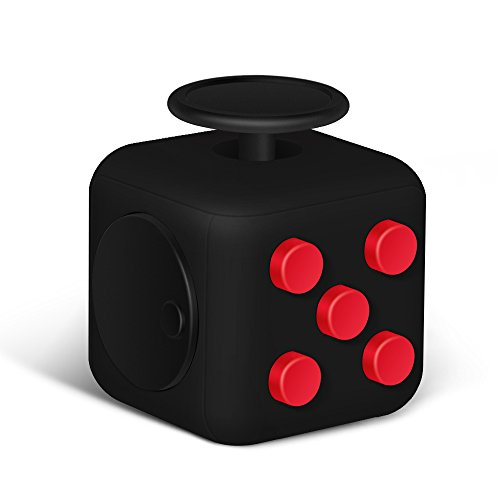 6 Sides Relieve Stress Fidget Cube For Fidgeter! Fidget Dice Anti-anxiety Toy for Children and Adults(Red/Black)