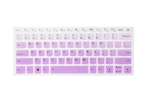 Leze - Ultra Thin Silicone Laptop Keyboard Cover Skin Protector Lenovo Yoga 720 15, Flex 5 14, Flex 5 15 Flex 6 14 ideapad 320/320s-14 Laptop US Layout - Gradual Purple