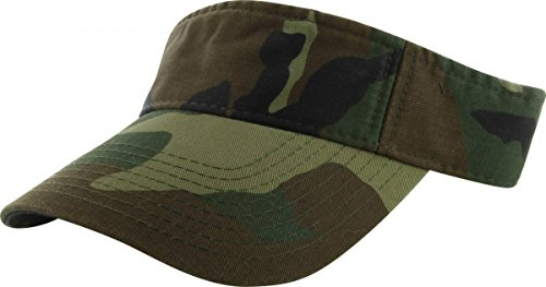 Easy-W Woodland Camo_Plain Visor Sun Cap Hat Men Women Sports Golf Tennis Beach New Adjustable by Easy-W (Image #2)