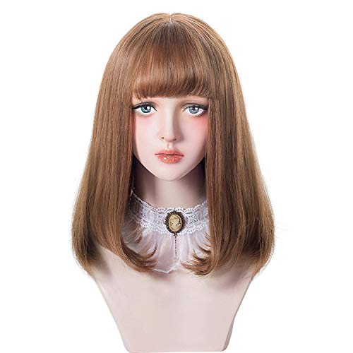 aiyaya Short Bob Brown Wig Bangs - Bob Synthetic Wig For Women Cosplay Costume, Natural Hair Color Lolita Wig For Party and Daily with Wig Cap]()