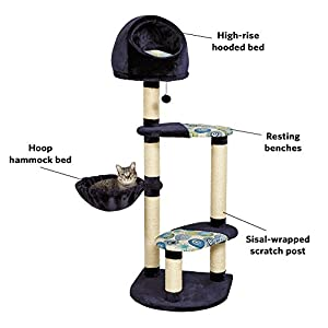 "Cat Tree | ""Resort"" Cat Tree / Cat Furniture, 4-Tier Cat Tree w/ Sisal Wrapped Cat Scratching Support Posts, Hanging Cat Bunker Bed & High Canopy Cat Perch, Blue / White Pattern, Large Cat Tree"