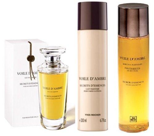 Yves Rocher Voile d'ambre 3-piece Gift Set for Women: Voile d'Ambre Eau de Parfum, 50 ml, Perfumed Body Lotion, 200 ml& Body Shower, 200 ml. VERY HARD TO FIND