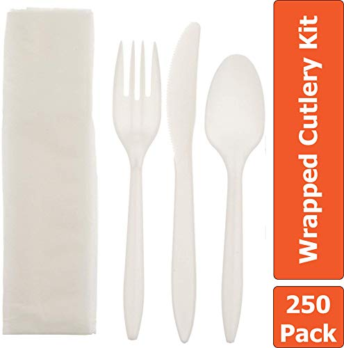 Disposable Plastic Cutlery Set 250-Pack Individually Wrapped Utensil Kit – Silverware Set Includes: Fork, Knife, Tea Spoon, Napkin – Perfect Flatware Set for Events, Lunches, Restaurants, Picnics