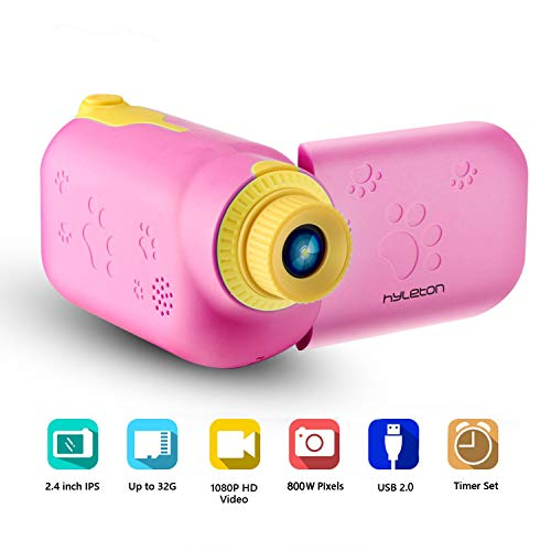 Kids Video Camera for Girls Gift,hyleton 1080P FHD Digital Kids Camera Camcorder Video Recorder DV with 2.4″ Screen for Age 3-10