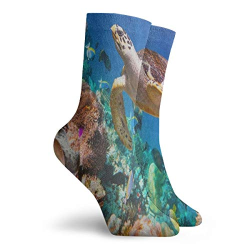 Socks Ocean Hawksbill Sea Turtle Coral Reef Marvellous Womens Stocking Accessory Sock Clearance for Girls ()
