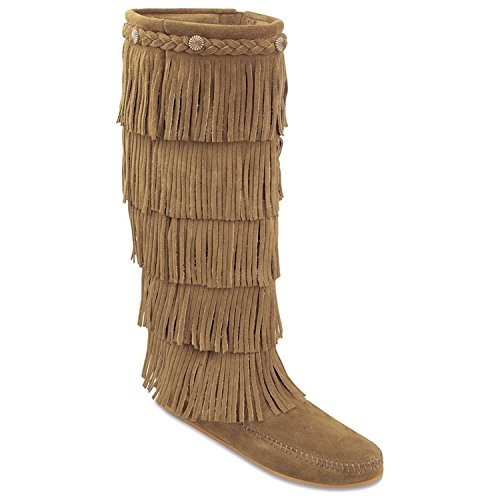 Fringed Suede Leather (Minnetonka Women's Fringed Suede Leather Boot Taupe 7 US)