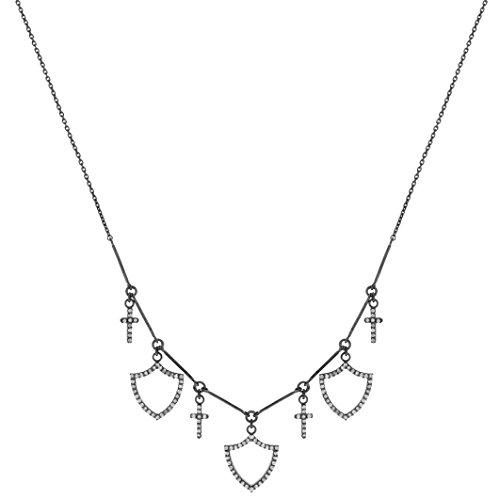 Jade Jagger Collier Acier Inoxydable Ronde Diamant Transparent Femme 42cm