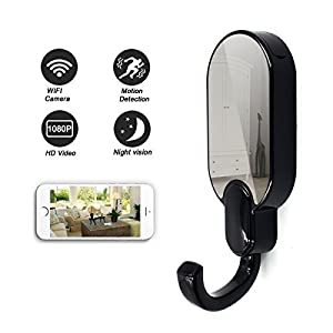 Daretang 1080p Super Hidden Night Vision Wifi Spy Clothes Hook Camera,12Mp Nanny Cam Home Security Convert,Black Color