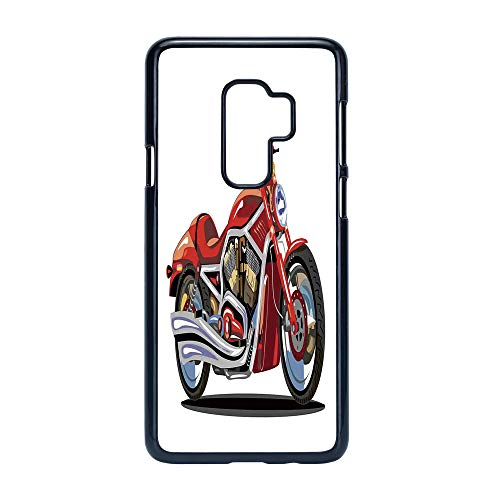 Engine Freedom (Cell Phone Case Compatible Samsung Galaxy S9 Plus,Motorcycle - Hard Plastic Phone Case/Black - Super Sexy Motorbike with Vivid Color Properties Winged Engine Machine Freedom)