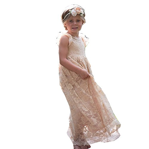 Think Pink Bows Little Girls Champagne Closed Back Stella Flower Girl Dress 4