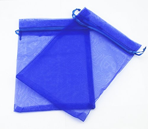 AEAOA 4x6 Inch Organza Bags Drawstring Wedding Favor Bags Organza Gift Pouches Bags for Wedding Jewelry Party (50 Pieces, Royal Blue) (Mesh Tie String)