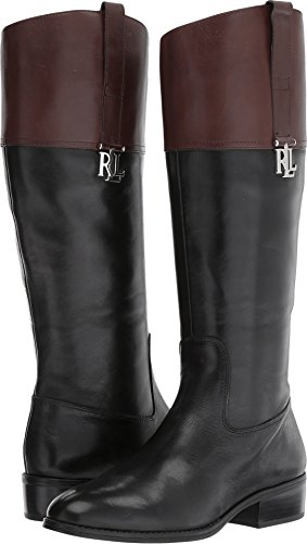 LAUREN Ralph Lauren Women's Merrie Black/Dark Brown Burnished Calf 10 B US
