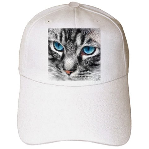Doreen Erhardt Cats - Beautiful close up Silver Tabby Cat face with gorgeous blue eyes. - Caps - Adult Baseball Cap (cap_172990_1)