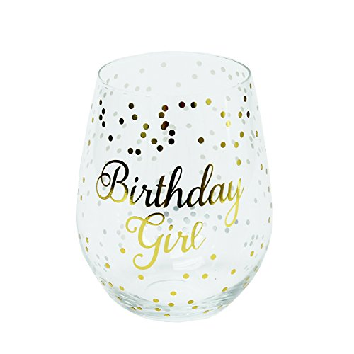 - Mary Square Birthday Girl 12oz Stemless Wine Glass