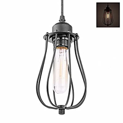 Lemonbest® Vintage Edison Hanging Light Fixture Industrial Metal Wire Pendant Cage Lamp Guard E27 Black