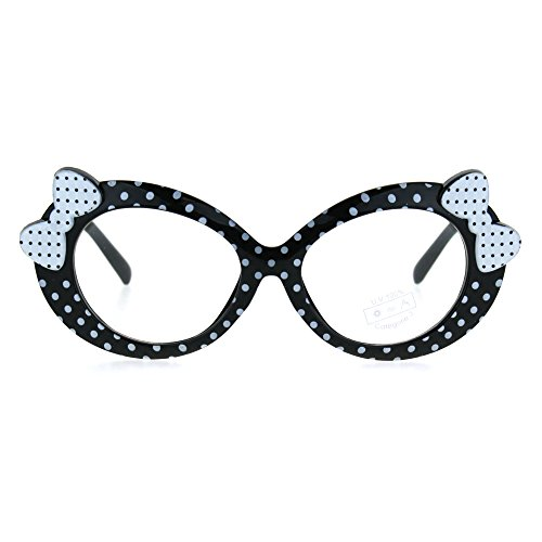 Kids Size Girls Polka Dot Oval Bow Jewel Trim Plastic Clear Lens Eye Glasses Black White - Glasses Bow