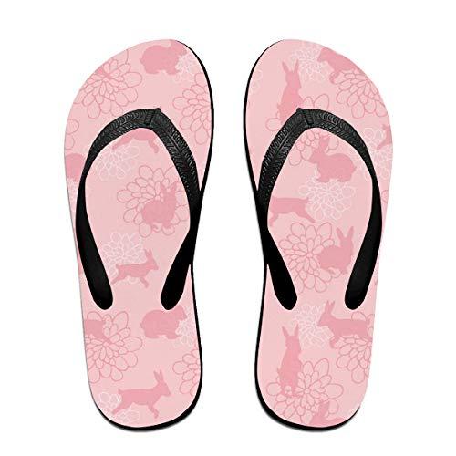 (SummerTllo Enchanted Lapins Mens Womens Sandals Flip Flops Thong Sandals Black)