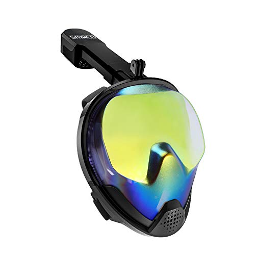 SMACO Full Face Snorkel Mask with UV Protection Anti-Fog Anti-Leak Snorkeling Mask with Detachable Camera Mount 180 Panoramic View Swimming Mask for Adults and Youth.