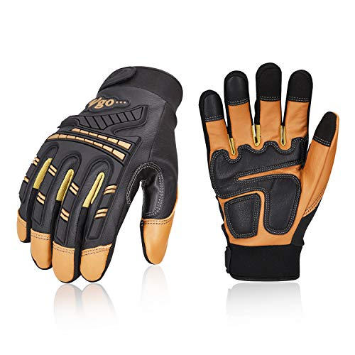 Vgo High Dexterity Water Repellent Goat Leather Heavy Duty Mechanic Glove,Rigger Glove,Anti-vibration,Anti-abrasion,Touchscreen (1Pair,Brown,Size L,GA8954) ()