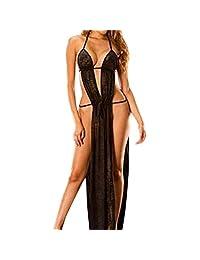 Sexy Lingerie Nightdress Susenstone Women Long Dress Yarn Blackless Sleepwear