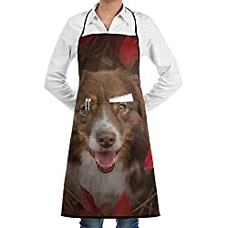 Australian Shepherd Cooking Apron Adjustable Strap Bbq Grill Black Aprons With Pocket For Women